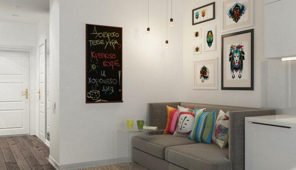 серый диванчик на кухне