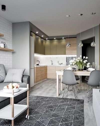 Дизайн кухни-гостиной: фото современных интерьеров