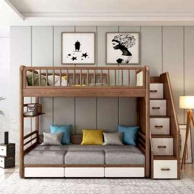 Особенности двухъярусных кроватей с диваном для детей и взрослых
