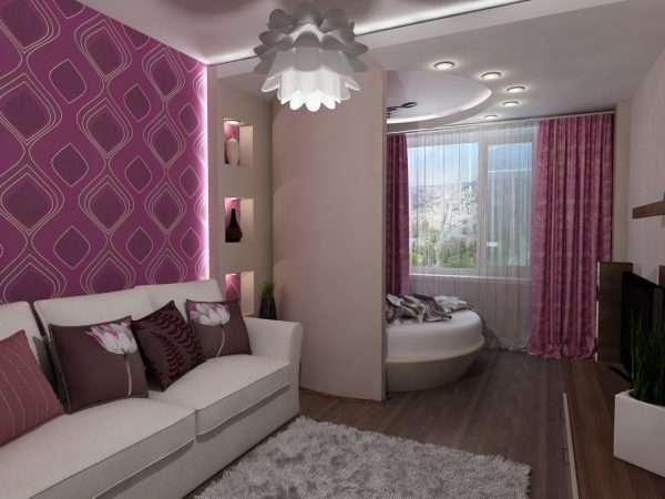 Дизайн спальни гостиной - идея зонирования