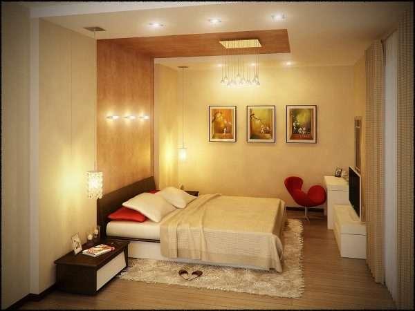 Точечные светльники на потолке в маленькой спальне без окон