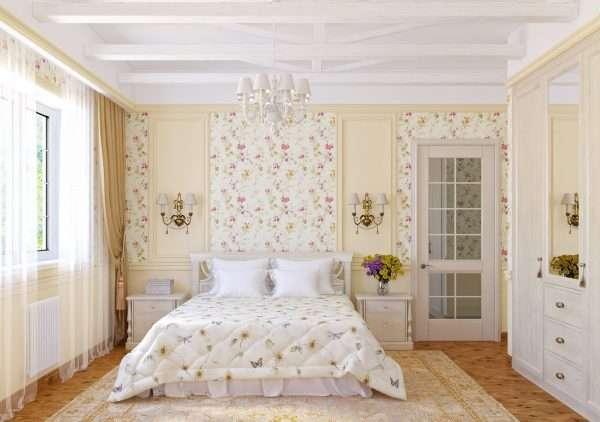 Цветы в интерьере спальни в стиле прованс