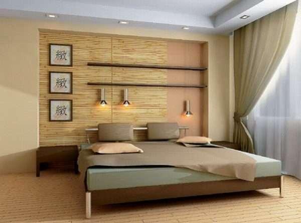 Спальня в эко-стиле, оформление - джут