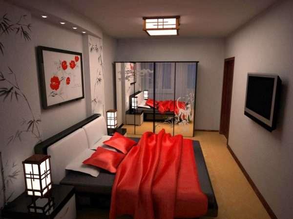 Дизайн интерьера спальня 14 м белого цвета с сочными и яркими вставками