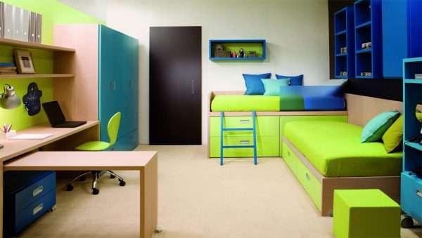 Современные столы трансформеры в спальне для двух мальчиков подростков