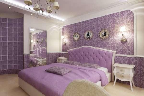 Дизайн спальни в светло-лиловых тонах