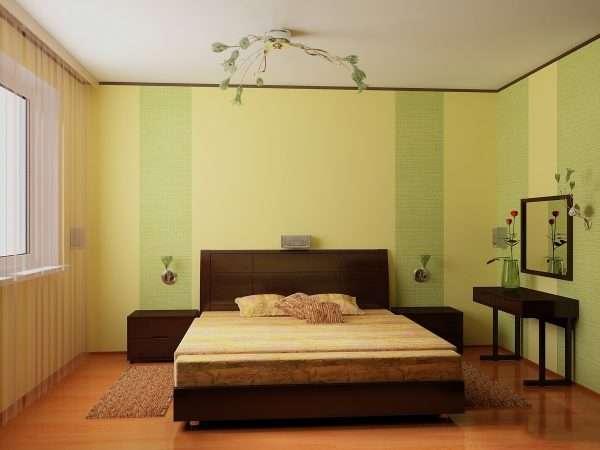 Обои двух видов в дизайне спальни