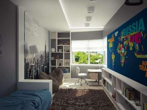 Дизайн спальни для мальчика подростка в современном стиле