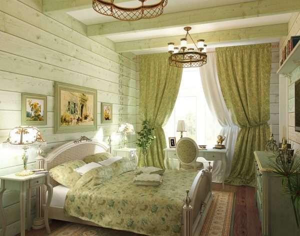 Светло оливковый цвет в интерьере спальни в стиле прованс