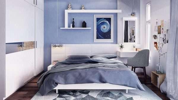 Интерьер спальни в серо-голубой гамме