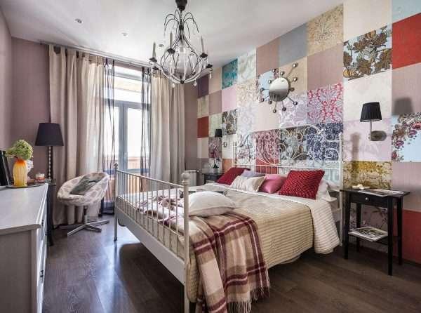 Оформление стены в спальне в стиле пэчворк