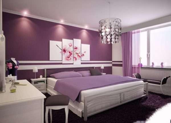 Интерьер спальни в лиловых тонах