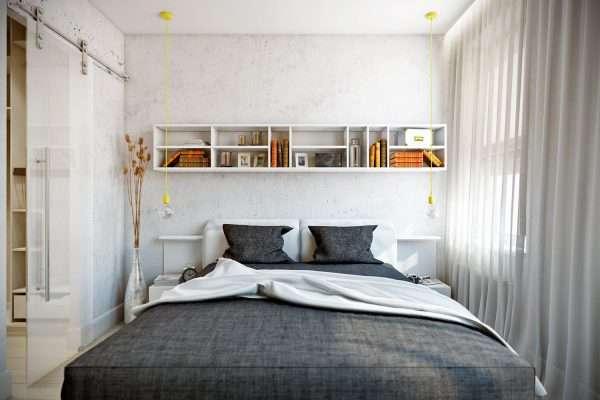 Шторы и покрывало из легкого текстиля для маленькой спальни
