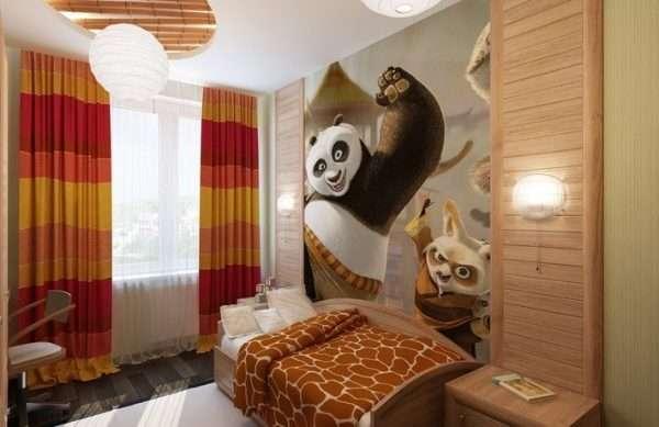 Интерьер спальни для мальчика подростка в природных тонах