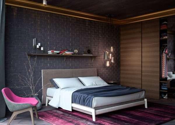 Имитация кирпичной кладки в спальне