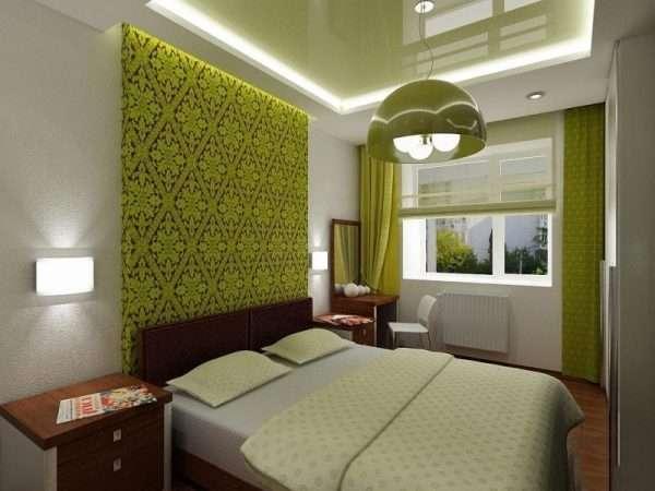 Дизайн спальни в фисташковом цвете