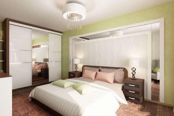 Спальня 14 м в светлых тонах