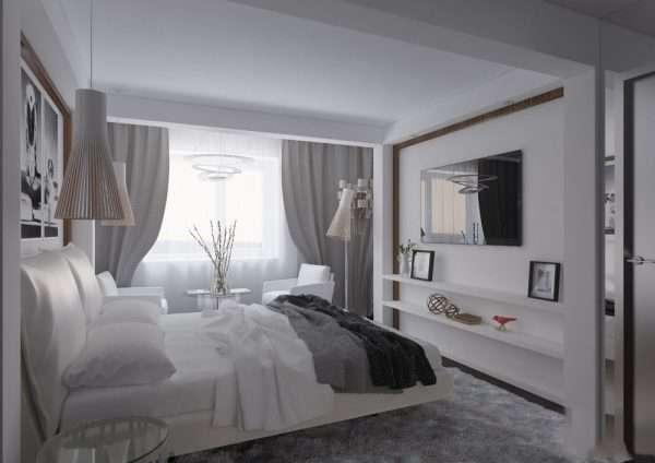 Дизайн спальни в белом цвете