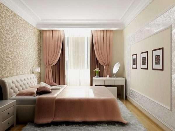 Дизайн спальни 15 метров в пастельных тонах