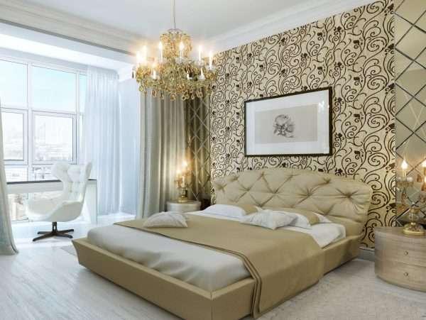 Обои с крупным рисунком в оформлении спальни