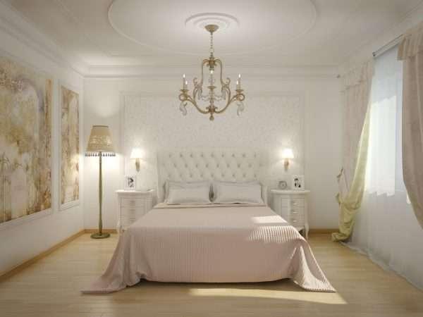 Спальня с белой мебелью в классическом стиле