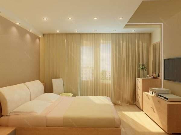 Используем точечное освещение в маленькой спальне