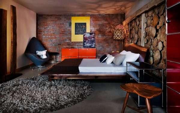 Дизайн стен для спальни в стиле лофт