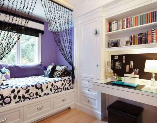 Мпальная зона в детской комнате для девочки подроска