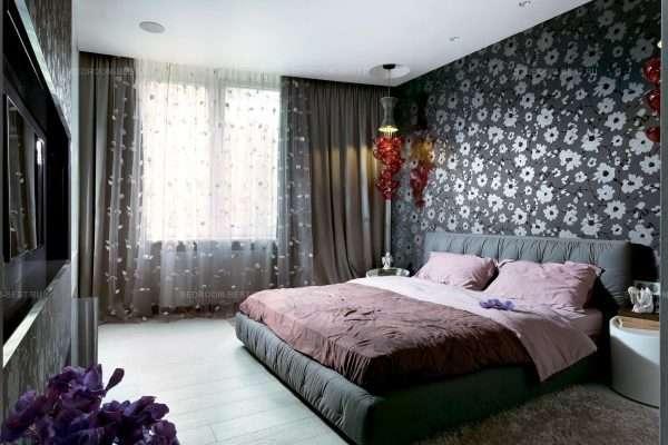 Стильная спальня в темно-серых тонах
