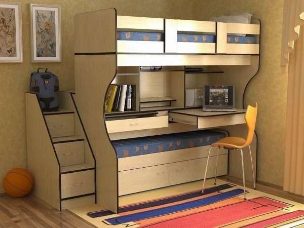Мебель-трансформер для маленькой спальни для двух мальчиков подростков