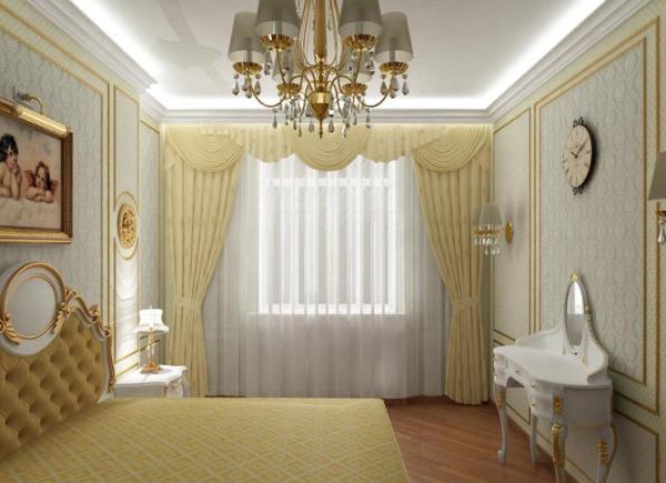 "Сочетание белой мебели и ""золота"" в декоре спальни"
