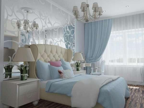 Сочетание голубого с кремовым оттенков в дизайне спальни