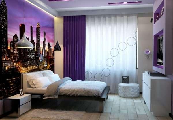 С помощью фотообоев расширяем пространство маленькой спальни