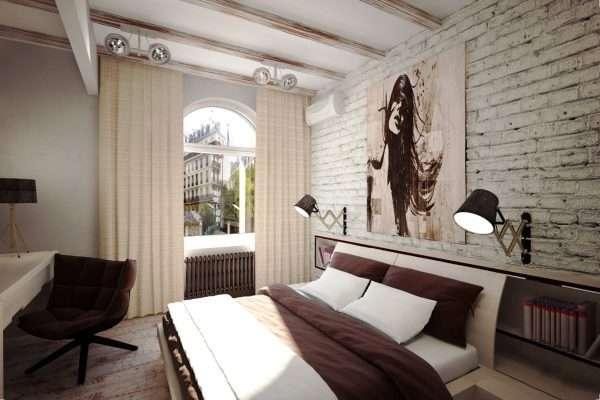 Спальная комната в лофте