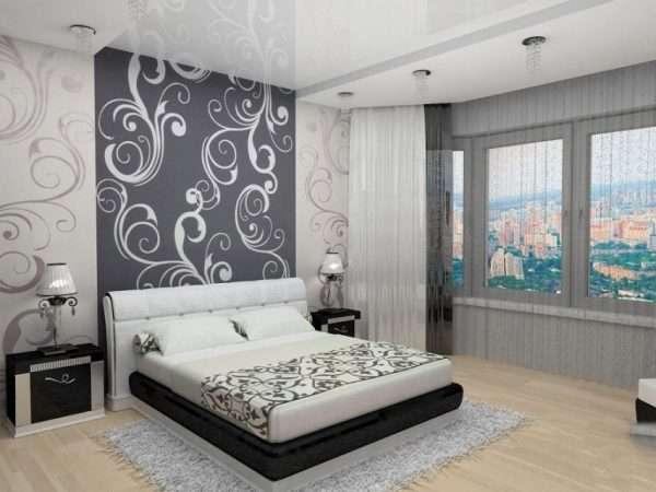 Обои с крупным рисунком в спальне в стиле минимализм