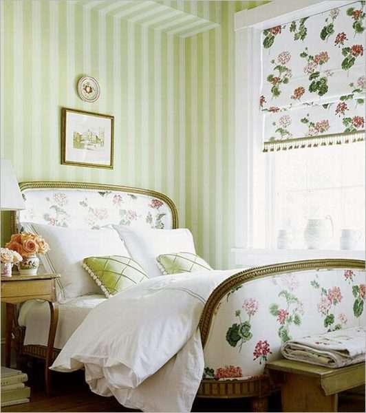 Римские шторы в спальню в стиле прованс