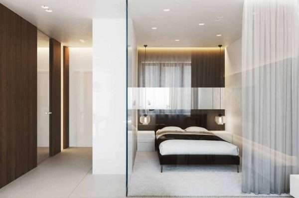 Дизайна маленькой спальни без окна со стеклянной перегородкой