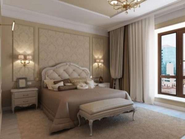 Кровать для спальни с мягким изголовьем белого цвета
