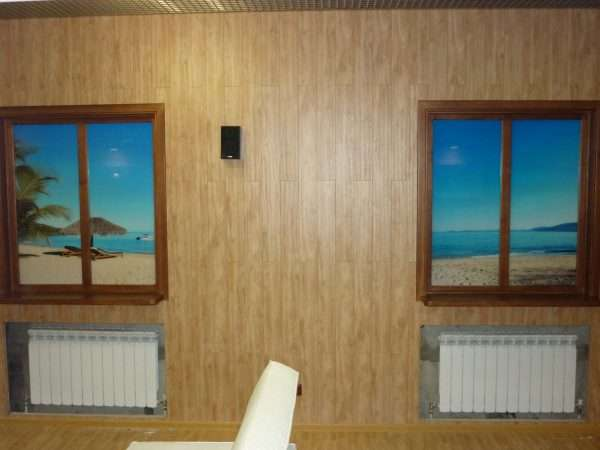 Дизайн фальш-окна с полной имитацией деревянной основы