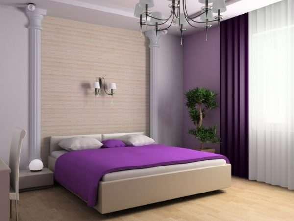 Сочетание бежевого с сиреневым в интерьере спальни