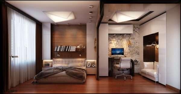 Зонирование: спальня и рабочая зона