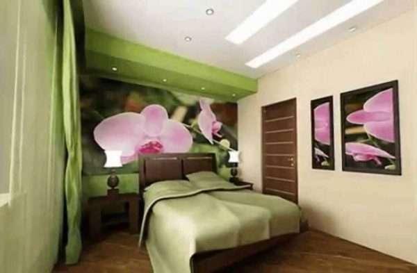 Пример использования фотообоев в спальне