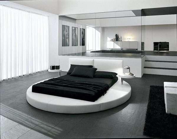 Мебель необычной формы для спальни в стиле хай-тек