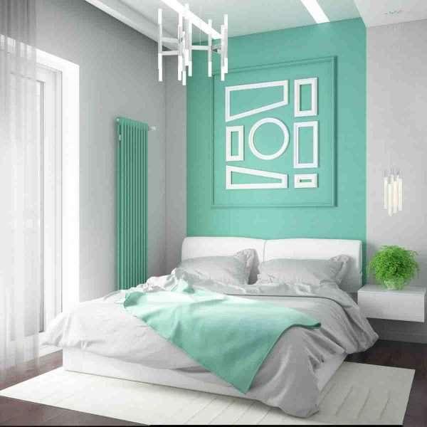 Мятный цвет в интерьере спальни