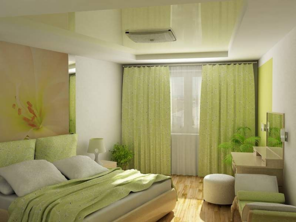 Дизайн спальной комнаты в фисташковых тонах
