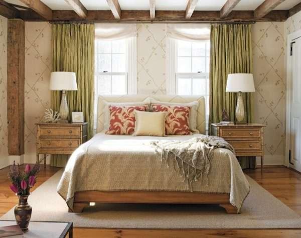 Потолок в стиле прованс - использование деревянных балок