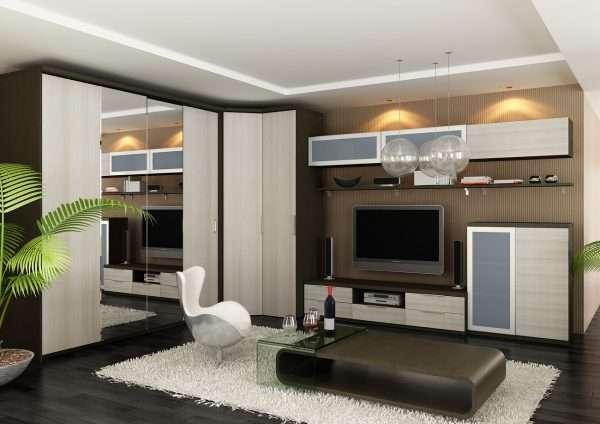 Гостиная спальня в бежево-коричневых тонах