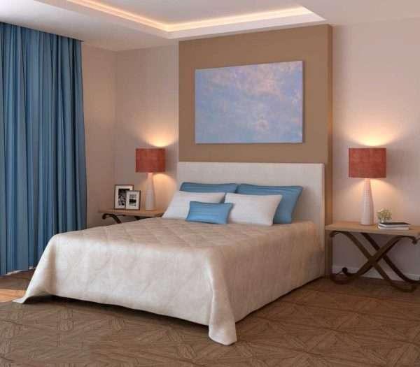 Сочетание бежевого с голубым в интерьере спальни