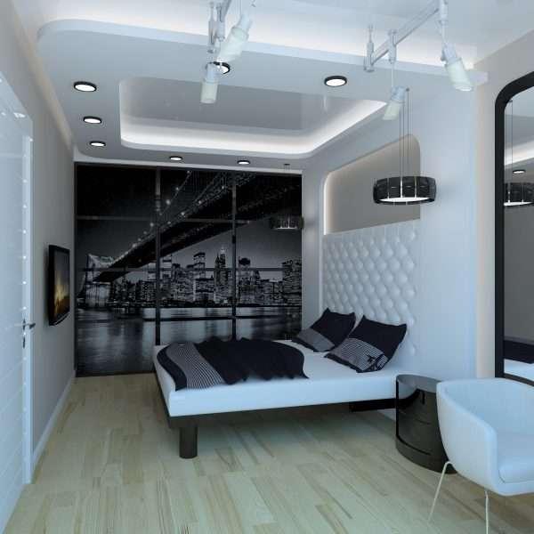 Дизайн спальни 3 на 3 в стиле хай тек