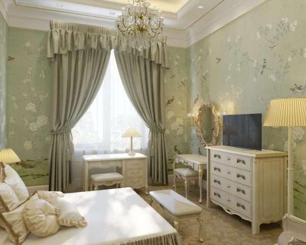 Дизайн небольшой спальни в классическом стиле в фисташковых тонах